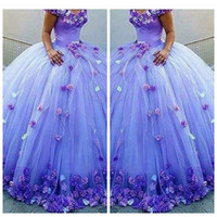 Wholesale big flower pictures - Ball Gown Puffy Tulle Quinceanera Dresses 3D Handmade Flowers Adorned Lace Up Back Vestidos De Quinceanera Party Gowns 16 Sweet Big
