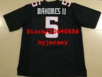 jerseys negros baratos del balompié al por mayor-Barato Mens TEXAS TECH # 5 PATRICK MAHOMES II College football Jersey negro Rojo blanco Jerseys de costura envío gratis