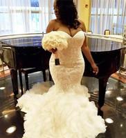rendas de casamento vestidos de volta sereia venda por atacado-2018 africano plus size vestidos de casamento querida ruffles sereia lace vestido de noiva lace up voltar tulle vestidos de noiva vestidos