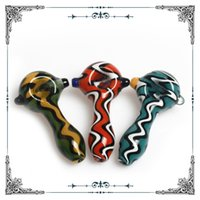 Wholesale free packet - heady glass Spoon Pipe Flower Glass Hand pipes smoking silicone wholesale colored tobacco hand packet spoon mini pipes free shipping