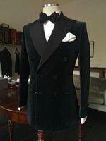 çift göğüslü kadif toptan satış-Erkek Smokin Düğün Elbise Suits 2018 Moda Siyah Kruvaze Ince Damat Düğün Balo Erkekler Için Özel Yapılmış Kadife Suits Mens Suits