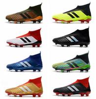 chaussures de football en salle en plein air achat en gros de-2018 Predator 18+ chaussures de football crampons fermes au sol hommes chaussures de football coupe du monde paul pogba chaussures de football en plein air en plein air zapatos