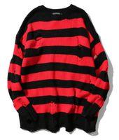 suéter de manga larga arranca al por mayor-Ripped Stripe Knit Sweaters Hombre Hip Hop Hole Casual Pullover Sweater Hombre Moda Suelto de manga larga Sweaters Rojo Negro