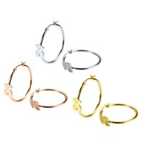 Wholesale Trendy Products - Trendy women Jewelry 3 Colors Stainless Steel big circle hoop women stud bears earring featured product Party jewelry gift for girl and lady