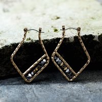 Wholesale Wholesale Large Stones Jewelry - Large Geometric Natural Stone Earrings Female Creative New Temperament Jewelry Ladies Wholesale Spot 2 Color