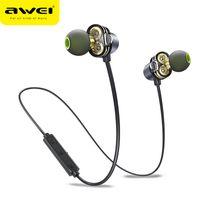 наушники awei оптовых-AWEI Bluetooth наушники двойные драйверы Беспроводные спортивные наушники IPX5 водонепроницаемый HD стерео Sweatproof наушники с шумоподавлением гарнитуры
