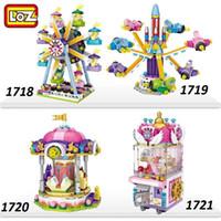 ingrosso bloccare i pirati giocattolo-LOZ mini block Parco giochi Serie Building Blocks Nave pirata Ruota panoramica Ruota aeromobili / giocattolo per bambini come regalo di Natale