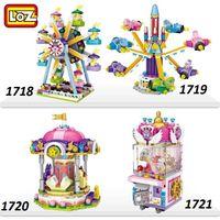 série mini brinquedos de bloco venda por atacado-LOZ mini bloco Playground Série Blocos de Construção de Navio Pirata Ferris Wheel Rotary aeronave / brinquedo para Crianças como Presente de natal
