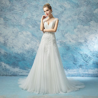 Wholesale crystal unique wedding dress resale online - 2019 Unique V neck appliques wedding dresses sheer lace cape sleeves covered buttons A line country bridal dresses with beading sash