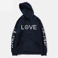 erkek bayan hoodies toptan satış-Pkorli Lil Peep Aşk Kazak Erkekler Kadınlar Rahat Kazak Hip Hop Lil Peep Rapçi Hoodies Sad Yüz Erkek Hoody