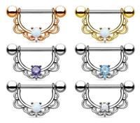 anillos del pezón del rhinestone al por mayor-1 unids Rhinestone Nipple Piercing Moda Body Shield Anillos Piercing Joyería Corporal para Mujeres Niñas
