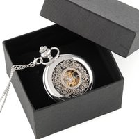 мужская механическая цепочка для часов оптовых-Старинные классический Серебряный скелет дело мужчины механические карманные часы цепь с коробкой