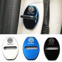 edelstahl tür vw großhandel-4 Teile / los Edelstahl Türschloss Striker Abdeckung Tür Striker Cover Auto Innenschutz Zubehör für VW
