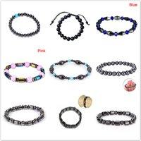стиль здоровья оптовых-10 Style Health Care Adjustable  Bracelet Fashion Slimming Weight Loss Round Black Stone Magnetic Therapy Bracelet