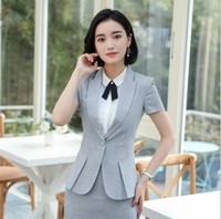 черные мини-юбки оптовых-Women Business Short Sleeve Blazer Suits With Skirt Summer Mini Skirt Suits Female Work Outfit Black Red Gray Plus Size 3XL 4XL