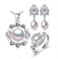 gümüş halkalar doğal taşlar toptan satış-Taşlarla 925 Ayar Gümüş küpe, kadınlar için doğal İnci takı setleri, bohemian set etnik küpe yüzük