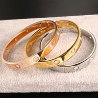 ingrosso braccialetto per le donne-Luxury Fashion Brand Women Bangles Open Cuff Designer Acciaio inossidabile 3 colori Crystal Mens Love Bracciale per regalo di nozze Cintura in oro placcato
