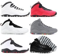 Wholesale fabric backing - High Quality 10 10s Steel I'm Back Cool Grey Fusion Red Men Basketball Shoes Chicago Bulls Black White Sneakers New With Shoes Box