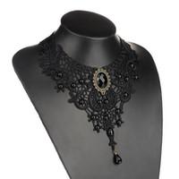 cristales negros para la ropa al por mayor-Gargantilla declaración vintage cristal negro ahueca hacia fuera el collar de la flor Gothic Lolita collar de encaje para las mujeres ropa Gril regalo accesorios de moda