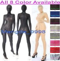 catsuit spandex giyinmek toptan satış-Unisex 8 Renk Spandex Ipek Suit Catsuit Kostümleri Seksi Spandex Ipek Bodysuit Unisex Tam Vücut Suit Fantezi Elbise Parti Cosplay Kostümleri M304
