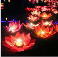 casamento de lata de água flutuando velas venda por atacado-10 pcs lâmpadas de lótus Romântico, desejando água flutuante luz de velas, decoração da festa de casamento de aniversário, Frete grátis.