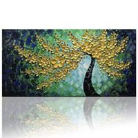 arte floral moderno al por mayor-Flores de oro verde Arte de la pared Sobre lienzo Pinturas al óleo abstractas Texturas modernas Ilustraciones Pintadas a mano Cuadro cuadrado