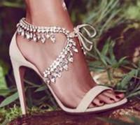 elegantes sandalias de tacón al por mayor-Milla Jeweled Suede Sandals Women Crystal Lace up Sexy tacones altos punta abierta con estilo Stilettos boda nupcial talones precio barato