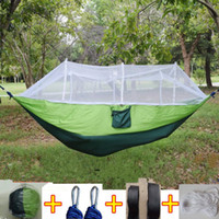 Wholesale camp hammock fold for sale - Group buy 12 Colors cm Portable Hammock With Mosquito Net Single person Hammock Hanging Bed Folded Into The Pouch For Travel CCA6841