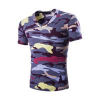 t-shirts manches mâles achat en gros de-Meisai Imprimé Hommes Court T-shirt Conception Col V À Manches Courtes En Coton Homme Top Vêtements Homme Vêtements M-2XL