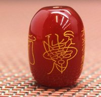 Wholesale agate barrel beads resale online - Traditional barrel bead natural red agate carving tai sui spells deserve to act the role of x13mm