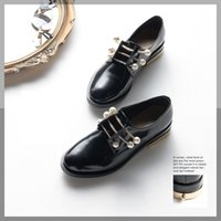 Wholesale Small Medium Heels Women Shoes - Luxury Designer Wedding Low Heels Leather Pearl Women Shoe Moore British College Wind Dresses Shoe Gear Metal Buckle Small Leather shoes