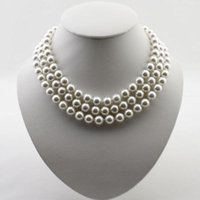 fecho de ímã redondo venda por atacado-Colar de pérola shell, 17-19inches cor branca Shell jóias, 3Strand Round Shell, fecho magnético