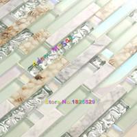 azulejos de cocina de mármol al por mayor-Estilo de la playa Azulejo de la pared Mosaico Azulejos de la cocina Backsplash Baño verde Concha de cristal de plata Piedra Mármol iridiscente de mármol blanco Arte