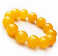 Wholesale lucky red bangle - Wholesale Retail 10-16MM Natural Yellow Jade Bracelets Bead Refill Gem Lucky Stretch Elastic Bracelet Fashion Jewelry Women