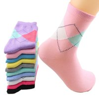 Wholesale womens sock resale online - 10 Pairs Fashion Spring Autumn Winter Womens Solid Pure Colors Sock Suits Yard Rhombus Wild Cute Cotton Socks