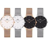 relojes de marca al por mayor-Top Daniel Wellington moda oro rosa hombres 40 mm damas 36 mm 32 mm marca de cuarzo reloj impermeable pareja reloj de acero inoxidable regalo
