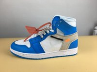 Wholesale Tied Table - 2018 Mens Air Retros 1 UNIVERSITY BLUE BLANC BLEU Men Basketball Shoes 1s OG Sneakers Trainers Mens Sport Shoes with ZIP TIE (With Box)