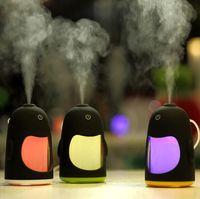 humidificateur de pingouin achat en gros de-Humide Penguin Air Humidificateur USB Aromatherapy Diffuseur D'huile Pour La Maison De Voiture Bureau De Bureau Mini Diffuseur Muet Mist Maker Fogger