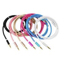 cep telefonu kabloları toptan satış-Aux Kablosu 3.5mm ila 3.5mm Naylon Tel Altın kaplama Fiş Erkek Ses Kablosu Cep Telefonu Kulaklık Hoparlör