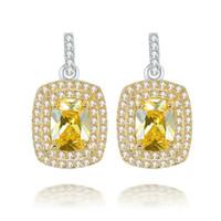 citrine achat en gros de-Pierre précieuse jaune citrine cristal zircone cubique clip sur argent sterling 925 boucles d'oreilles pour les femmes bijoux incroyable ICI0016