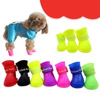 свободная обувь для собак оптовых-4x симпатичные Pet обувь собака водонепроницаемый собака сапоги защитные резиновые дождь обувь конфеты цвет Бесплатная доставка