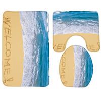 Wholesale Pattern Bath Rugs - 2017 New Bath Mat Set 3PCS Beach Pattern Non Slip Bathroom Rug Toilet Mat Set
