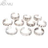 Wholesale sexy feet set - AOMU Punk Style Sexy Carved Heart Star Toe Ring Sets for Women Man Boho Vintage Fashion Anillos Beach Foot Jewelry
