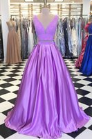 Wholesale beautiful silk dresses - Beautiful Lilac 2 Piece Evening Formal Dress 2018 Deep V neck Satin A line Beaded Sequin Sweep Train Prom Dress