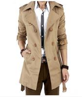 erkekler çift toptan satış-Trençkot Erkekler Klasik Kruvaze Erkek Uzun Ceket Masculino Erkek Giyim Uzun Ceketler Palto İngiliz Tarzı Palto