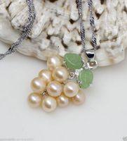 jadeblatt anhänger großhandel-Natürliche weiße Akoya-Zuchtperlen-Jade-Blatt-Trauben-Form-Anhänger-Halskette