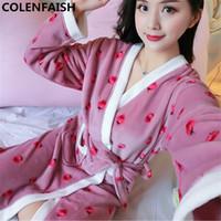kadın pijamaları elbiseler toptan satış-Karikatür Güzel 2018 Kalınlaşmak Nightgowns Kış Bornoz Kadın Pijama Banyo Flanel Sıcak Robe Pijama Bayan Elbiseler Mercan Kadife