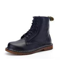 Wholesale mens low ankle shoes online - Men s Boots Martens Leather Winter Shoes Motorcycle Mens Ankle Boot Doc Martins Autumn Men Oxfords Shoe