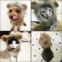 Wholesale cute cat ears halloween - Funny Lion Mane Wig Hats With Ears Artificial Wool Plush Dog Cat Headgear Cute Cosplay Dress Pet Supplies 12 5jn BB