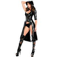 Hot Erotic Women Faux Leather Cape Cloak Cosplay Halloween Costume Punk Gothic Dress Lace up Catsuit Hooded Cape Jumpsuit sexy